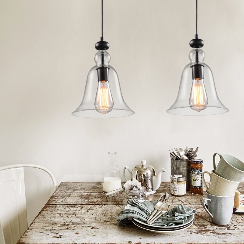 Simple Bell-Sahped Glass Shade 2-Head Pendant Lights
