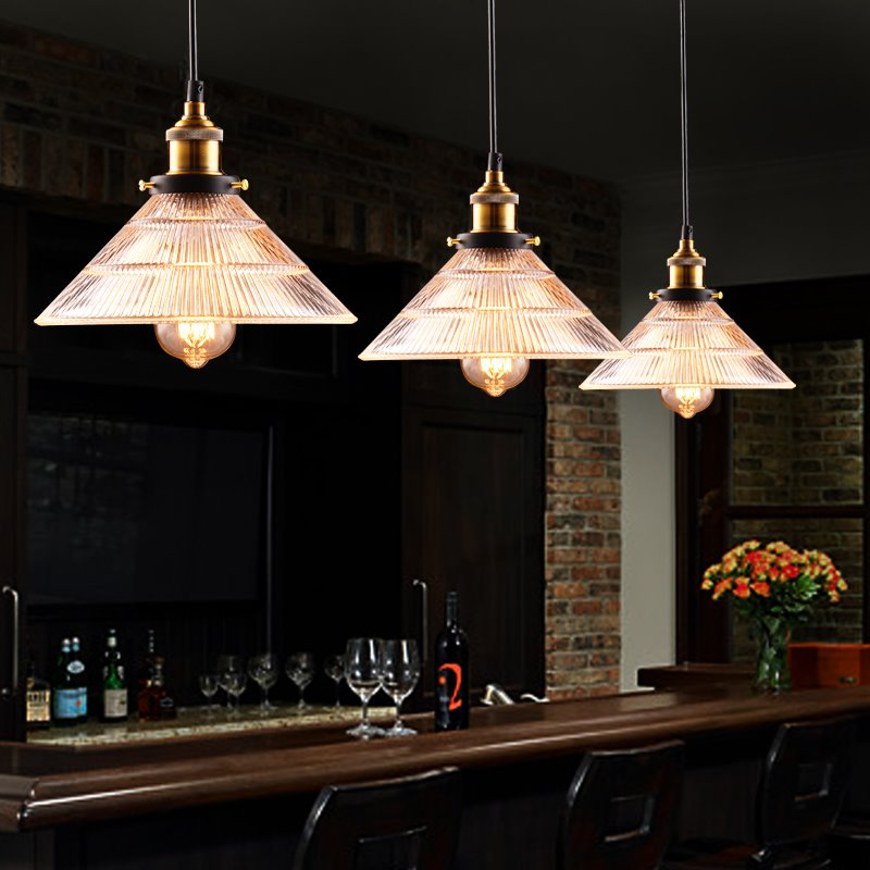 Simple American Style Crystal Glass 3-Head Pendant Lights
