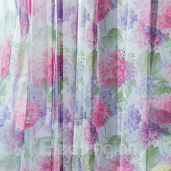 Romantic Korean Style Flower Pattern Grommet Top Sheer