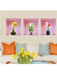 Stunning Flowers in Vase Pattern 3-Piece 3D Wall Stickers