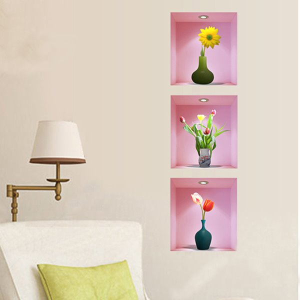 Colorful Flowers in Vase Surrounded by Pink Background 3-Piece 3D Wall Stickers
