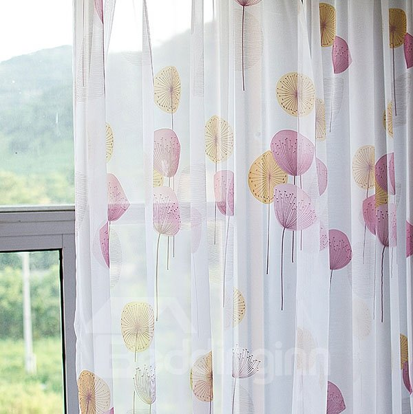 Lively Dandelion Pattern Grommet Top Sheer