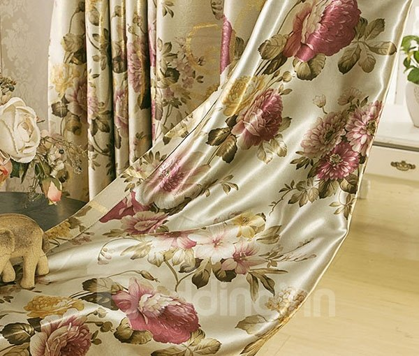 Gilding Flower Pattern Grommet Top Shading Cloth and Sheer Sets
