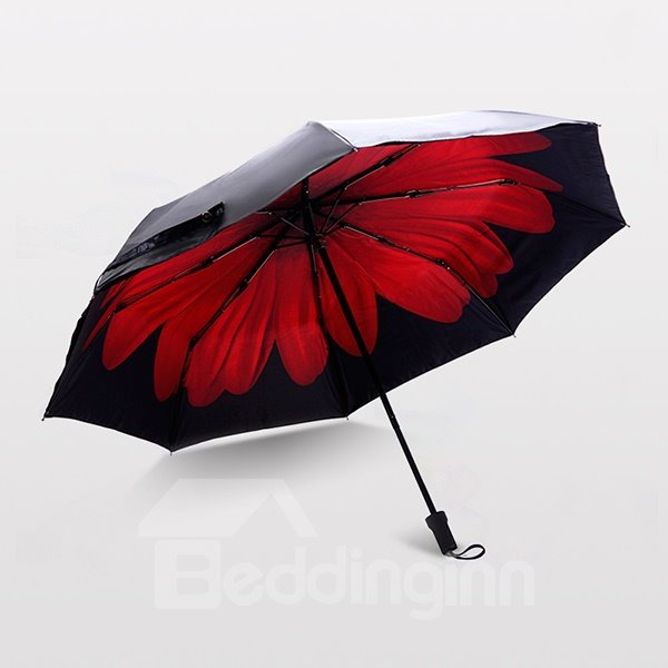 Wonderful Bright Red Daisy Portable Folding Sun Umbrella