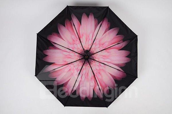Wonderful Pink Daisy Portable Folding Sun Umbrella