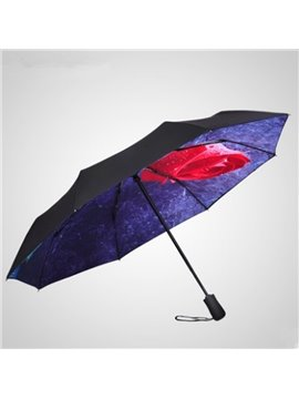 Beautiful Red Rose UV-Blocker Folding Sun Umbrella