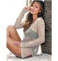 100% Cotton Crochet Hollow Tunic Beach Wear One-piece Cover Up
