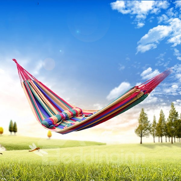 Classical Stripe Firm Outdoor Double Canvas Hammock