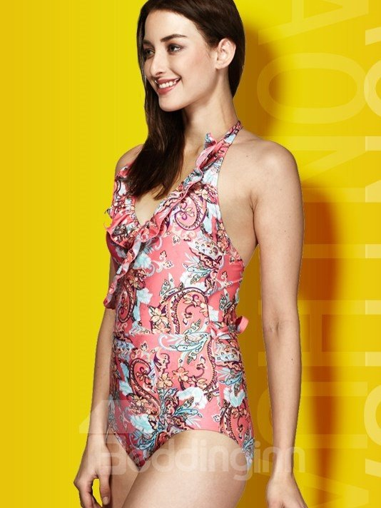 Falbala Neck Paisley Floral Swimwear Romper