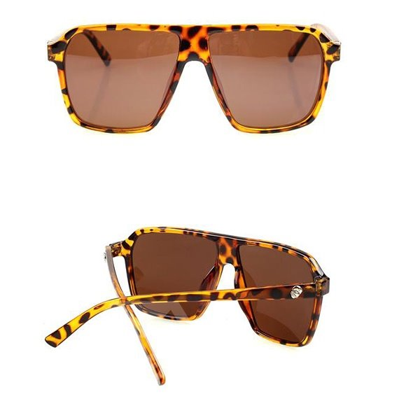 Retro Oversized Leopard Color Square Sun Glasses