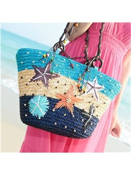Colorful Stars of Hawaii Straw Plait Shoulder Bag