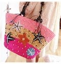 Colorful Stars of Hawaii Straw Plait Shoulder Bag