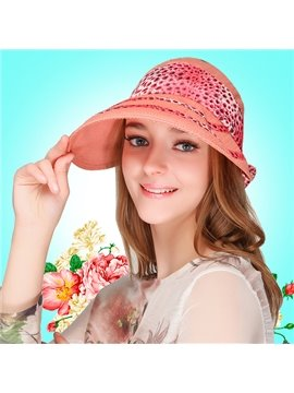 Fashion Women's Leopard Sun Hat Summer Beach Cap