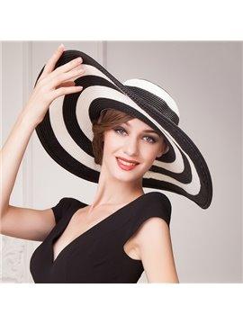 Fashion Broad Brim Women's Summer Beach Striped Floppy Straw Hat