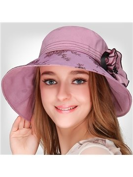Elegant Women's Summer Beach Flower Decoration Folded Hat