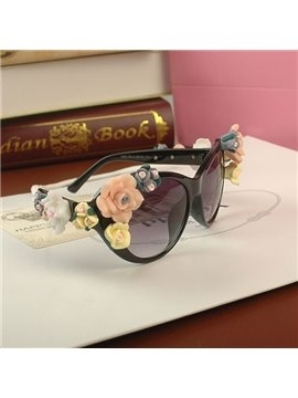 Fashion Baroque Oversized Flowers Decoration Sun Glasses
