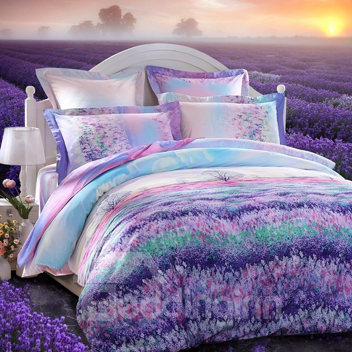 Beautiful Lavender Garden Printing 3 Piece Cotton Duvet