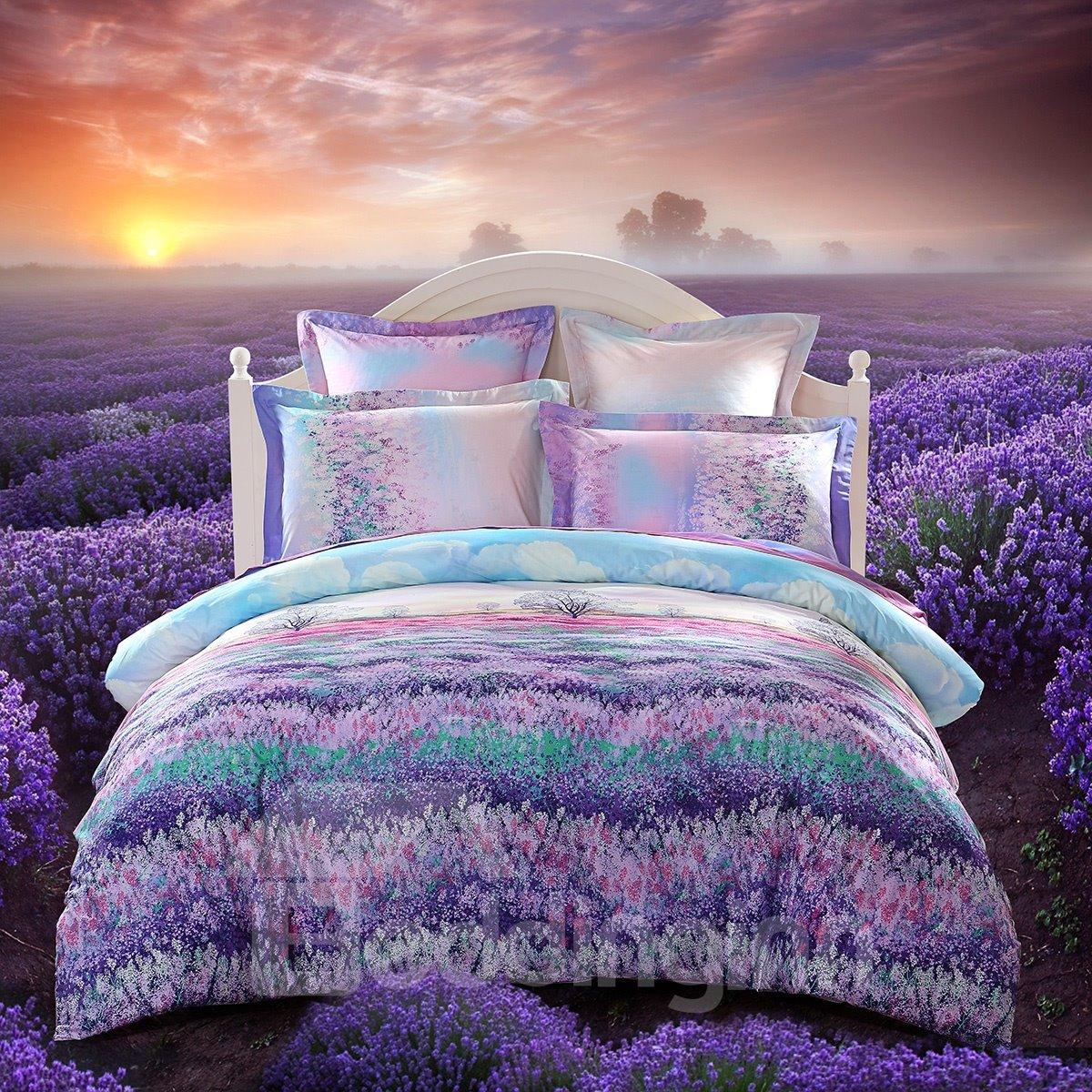 Lavender floral bedding -  Beautiful Lavender Garden Printing 3 Piece Cotton Duvet Cover Set