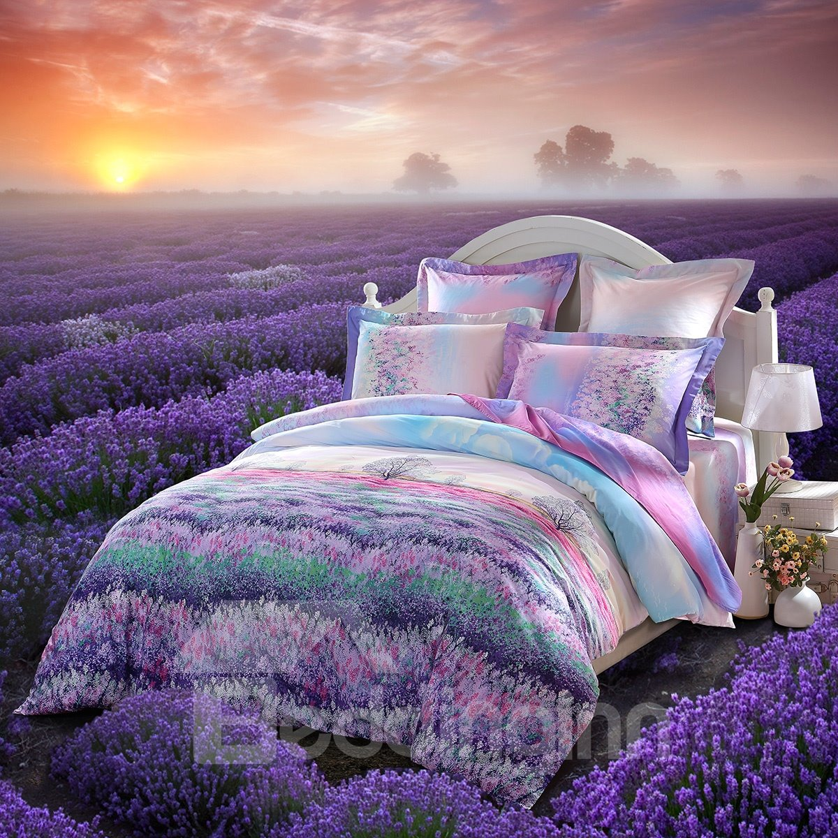 Beautiful Lavender Garden Printing 3 Piece Cotton Duvet