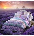 Beautiful Lavender Garden Printing 3-Piece Cotton Duvet Cover Set
