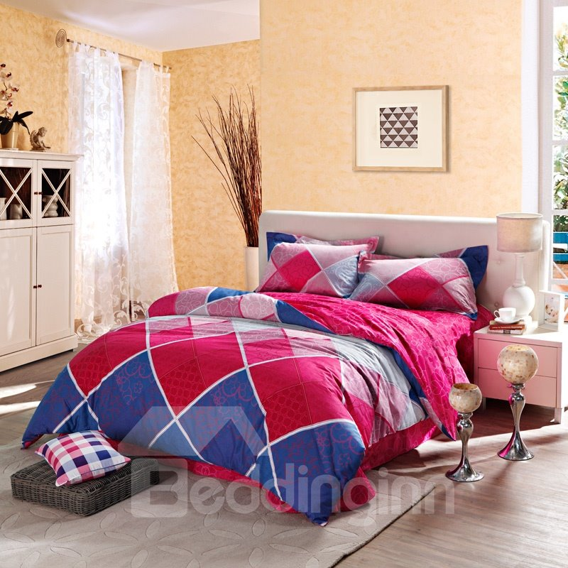 Color Contrast Twill Printing 3-Piece Cotton Duvet Cover Set
