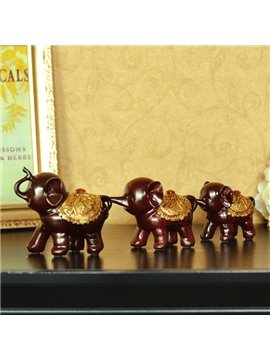 Cute Vivid LuckyThree-Piece Elephants Desktop Decroation