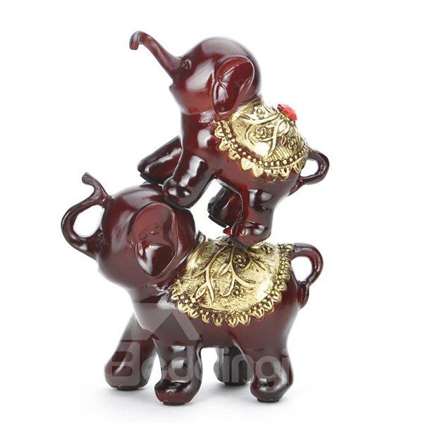 Cute Vivid LuckyThree-Piece Elephants Desktop Decroation