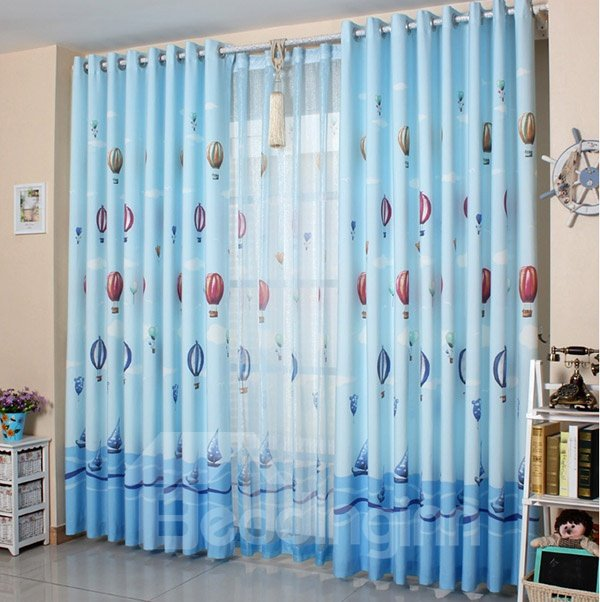 Top Quality Fire Balloon Pattern Curtain and Sheer