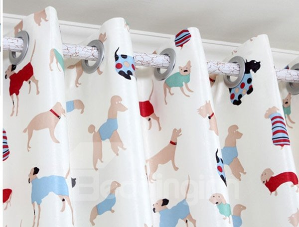 Colorful Vivid Puppy Pattern Curtain and Sheer