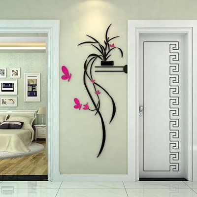 Delicate Stunning Orchid and Butterfly Pattern 3D Wall Sticker