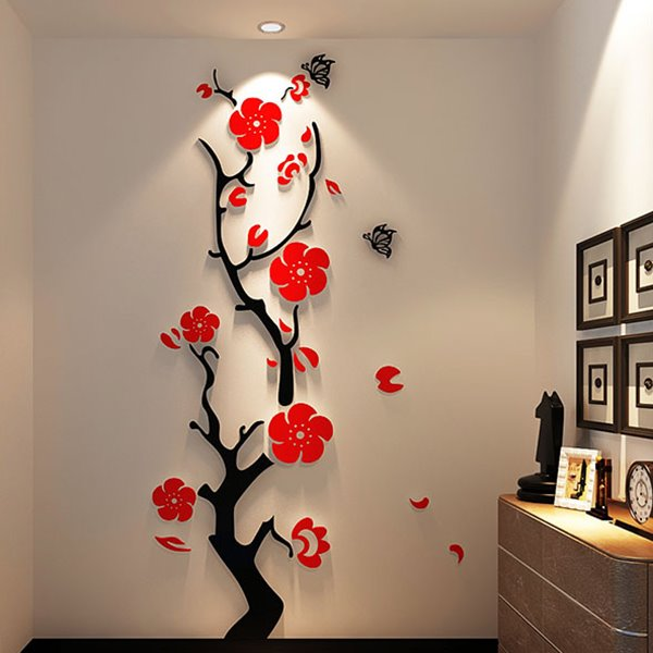 Gorgeous Floral And Butterfly Pattern Living Room 3D Wall Sticker Part 88