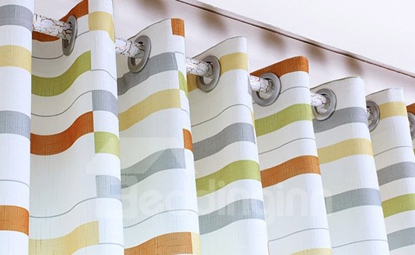 High Quality Straps Pattern Grommet Top Curtain and Sheer