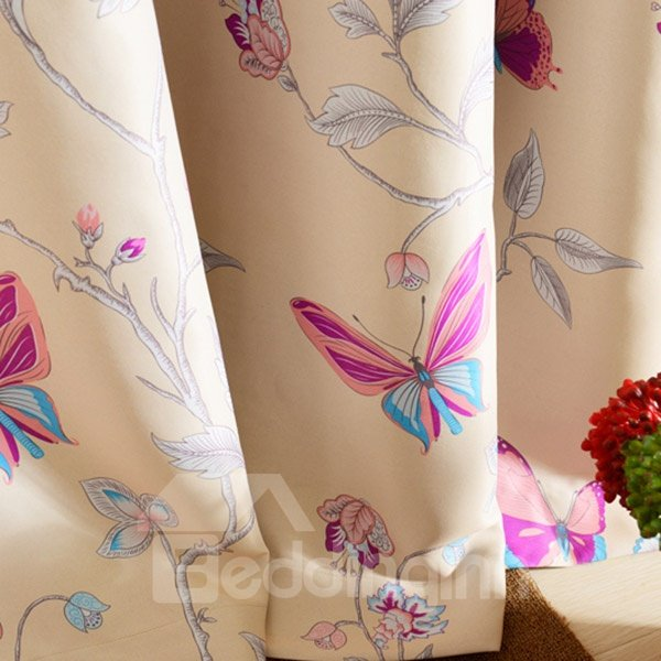 Butterfly Pattern Duplex Printing Grommet Top Curtain