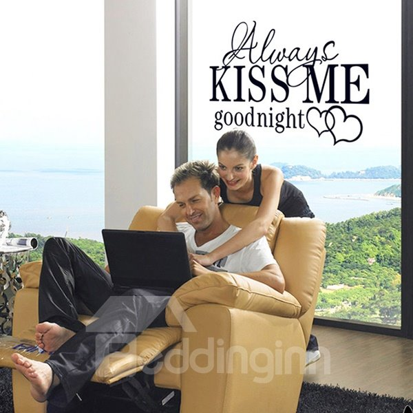 Loving Words Always Kiss Me Goodnight Removable Wall Sticker