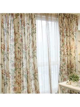 Big Flower Pattern Linen and Cotton Blend Curtain