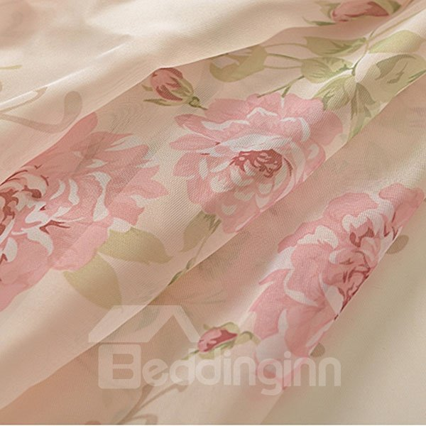 Romantic Pink Rose Printing Asymmetric Shading Cloth and Sheer Curtain Sets