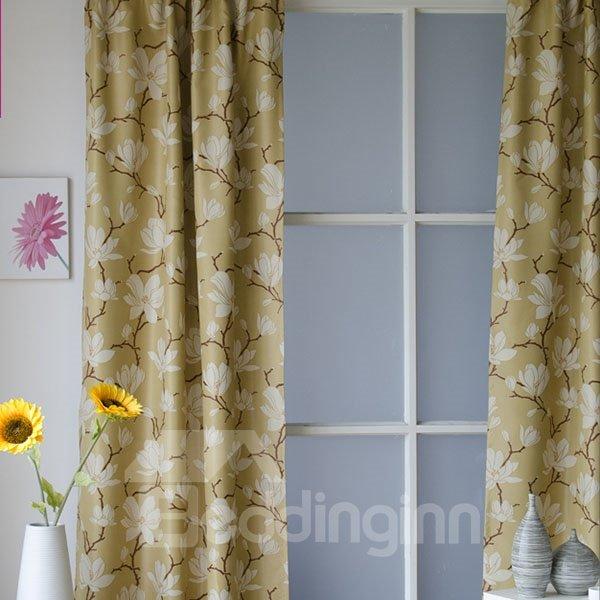 Elegant Magnolia Pattern Blackout Grommet Top Curtain