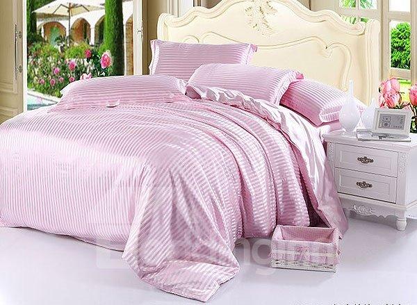 Soft Stripe 4-Piece Pink Duvet Cover Sets