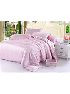 Soft Stripe 4-Piece Pink Duvet Cover Sets