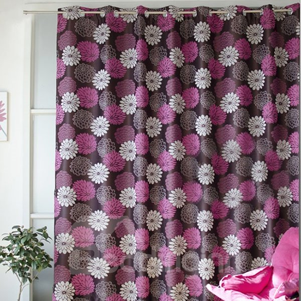 Simple Style Jacquard Grommet Top Curtain