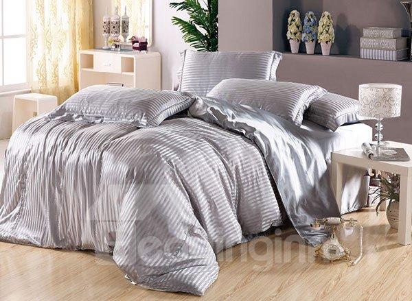 Soft Stripe 4-Piece Silver Duvet Cover Sets