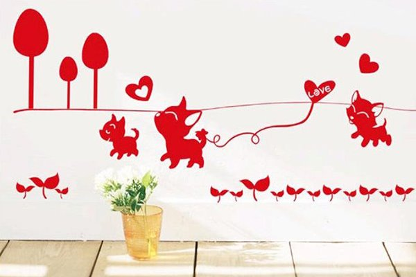 Lovely Cute Cats Playing and Love Heart Removable Wall Sticker