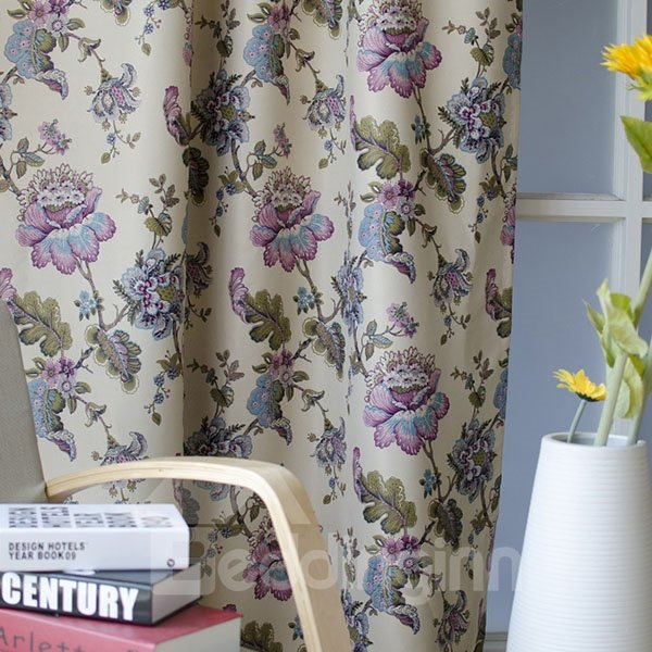 High Quality Flower Pattern Countryside Style Grommet Top Curtain