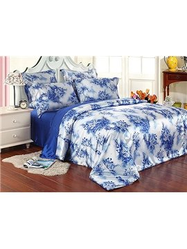 Charming Blue-and-White Porcelain 4-Piece Duvet Cover Sets