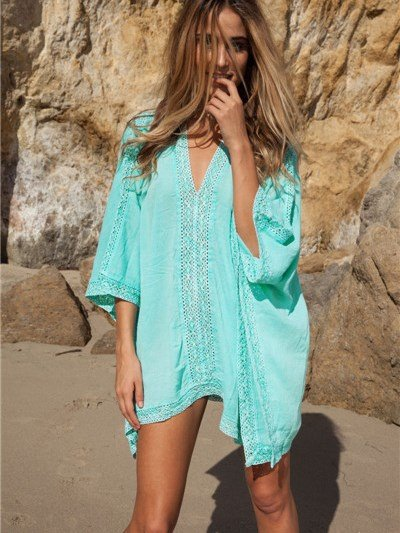 Light Blue Deep V-Neck Loose Fit Hollow Cover-up