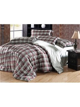 Modern Check Print 4-Piece Silver Duvet Cover Sets