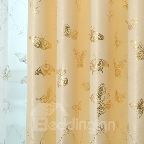Exquisite Golden Butterfly Pattern Grommet Top Curtain and Sheer