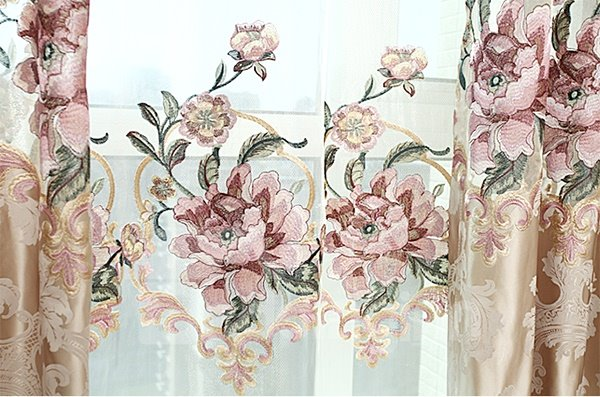 Top Quality Luxurious Floral Pattern Grommet Top Curtain and Sheer