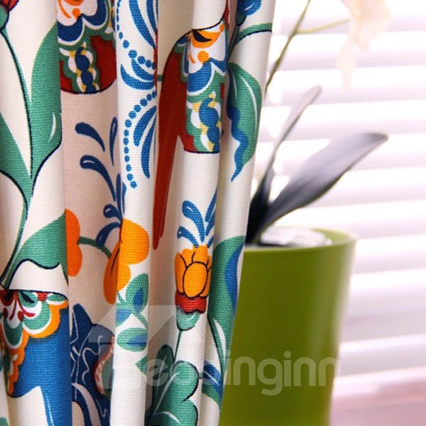 Post Modern Animals and Plants Pattern 100% Cotton Curtain