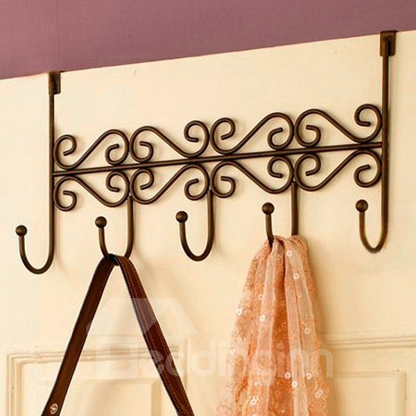 Creative Ironwork Over The Door 5 Hook Organizer Rack